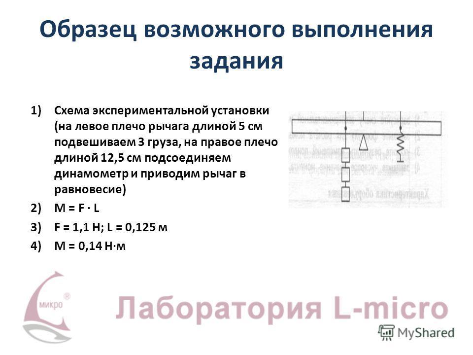 Образец возможного выполнения задания 1)Схема экспериментальной установки (на левое плечо рычага длиной 5 см подвешиваем 3 груза, на правое плечо длиной 12,5 см подсоединяем динамометр и приводим рычаг в равновесие) 2)M = F · L 3)F = 1,1 Н; L = 0,125