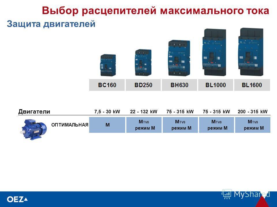 Выбор расцепителей максимального тока Защита двигателей Двигатели 7,5 - 30 kW22 - 132 kW75 - 315 kW 200 - 315 kW ОПТИМАЛЬНАЯ M M TV8 режим M M TV8 режим M M TV8 режим M M TV8 режим M