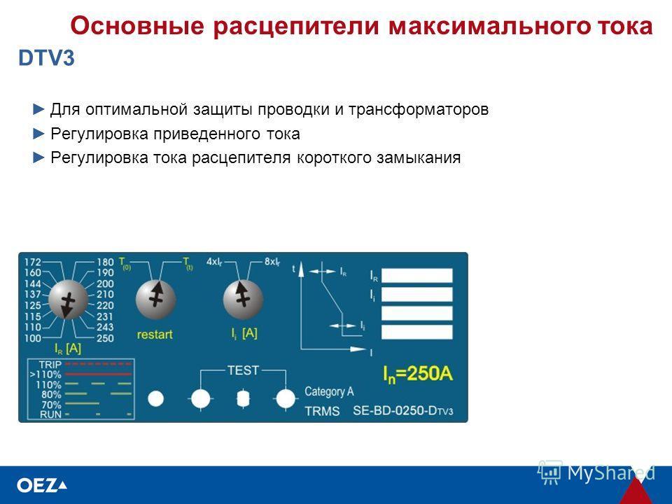 Основные расцепители максимального тока DTV3 Для оптимальной защиты проводки и трансформаторов Регулировка приведенного тока Регулировка тока расцепителя короткого замыкания