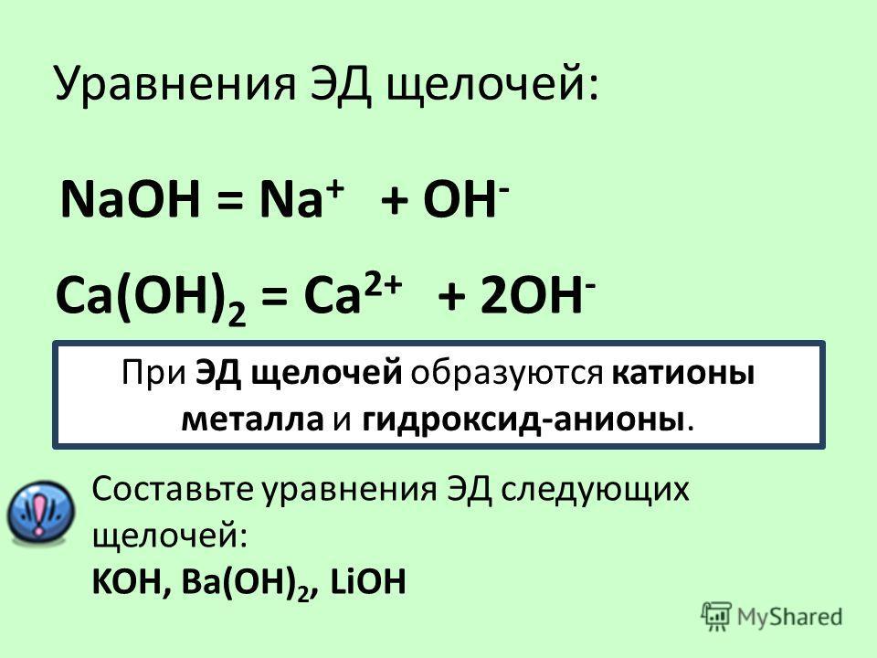 Уравнения ЭД щелочей: NаOH = Na + + ОН - Са(ОН) 2 = Сa 2+ + 2ОН - При ЭД щелочей образуются катионы металла и гидроксид-анионы. Составьте уравнения ЭД следующих щелочей: KOH, Ba(OH) 2, LiOH