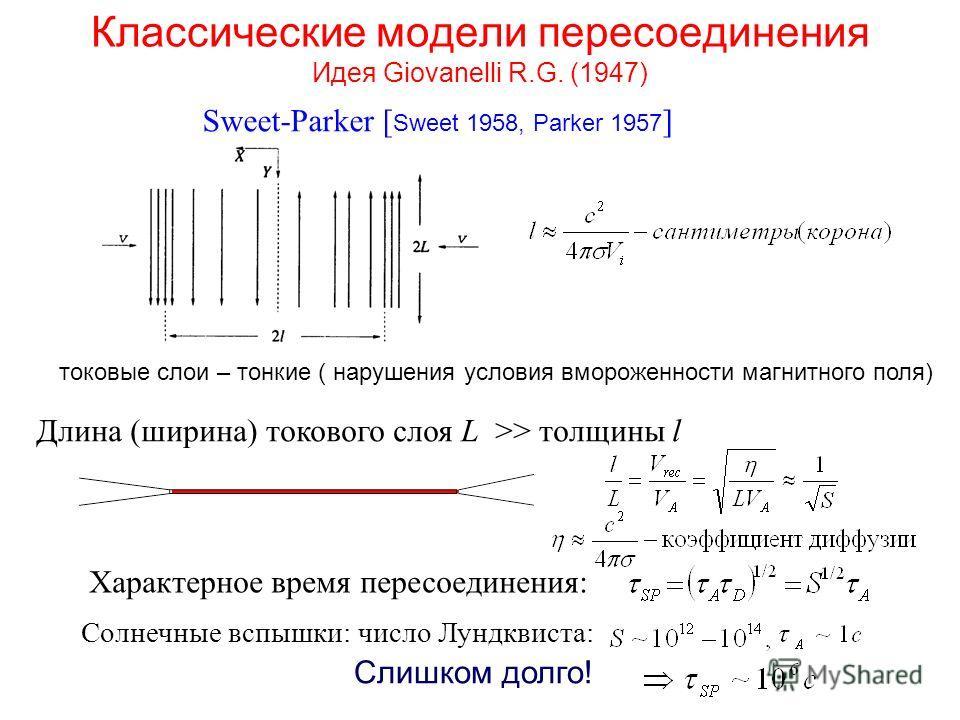Классические модели пересоединения Идея Giovanelli R.G. (1947) Sweet-Parker [ Sweet 1958, Parker 1957 ] Длина (ширина) токового слоя L >> толщины l Солнечные вспышки: число Лундквиста: Характерное время пересоединения: Слишком долго! токовые слои – т