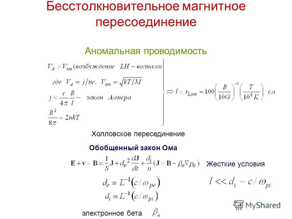 Бесстолкновительное магнитное пересоединение Аномальная проводимость электронное бета Обобщенный закон Ома Жесткие условия Холловское пересединение
