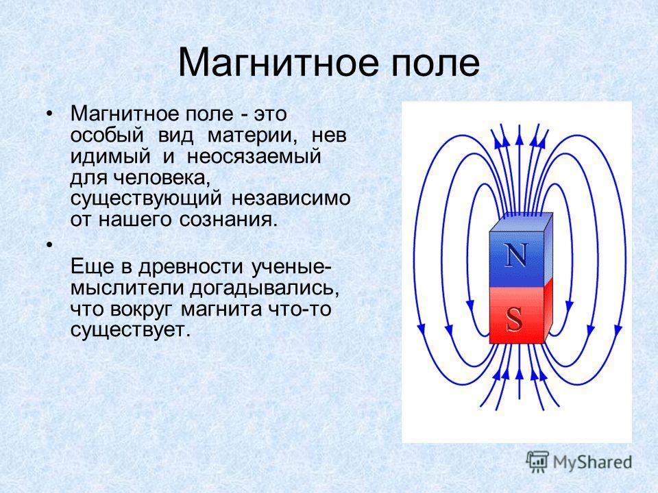 Магнитное поле Магнитное поле - это особый вид материи, нев идимый и неосязаемый для человека, существующий независимо от нашего сознания. Еще в древности ученые- мыслители догадывались, что вокруг магнита что-то существует.