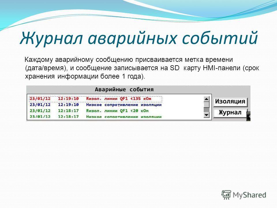 Журнал аварийных событий Каждому аварийному сообщению присваивается метка времени (дата/время), и сообщение записывается на SD карту HMI-панели (срок хранения информации более 1 года).