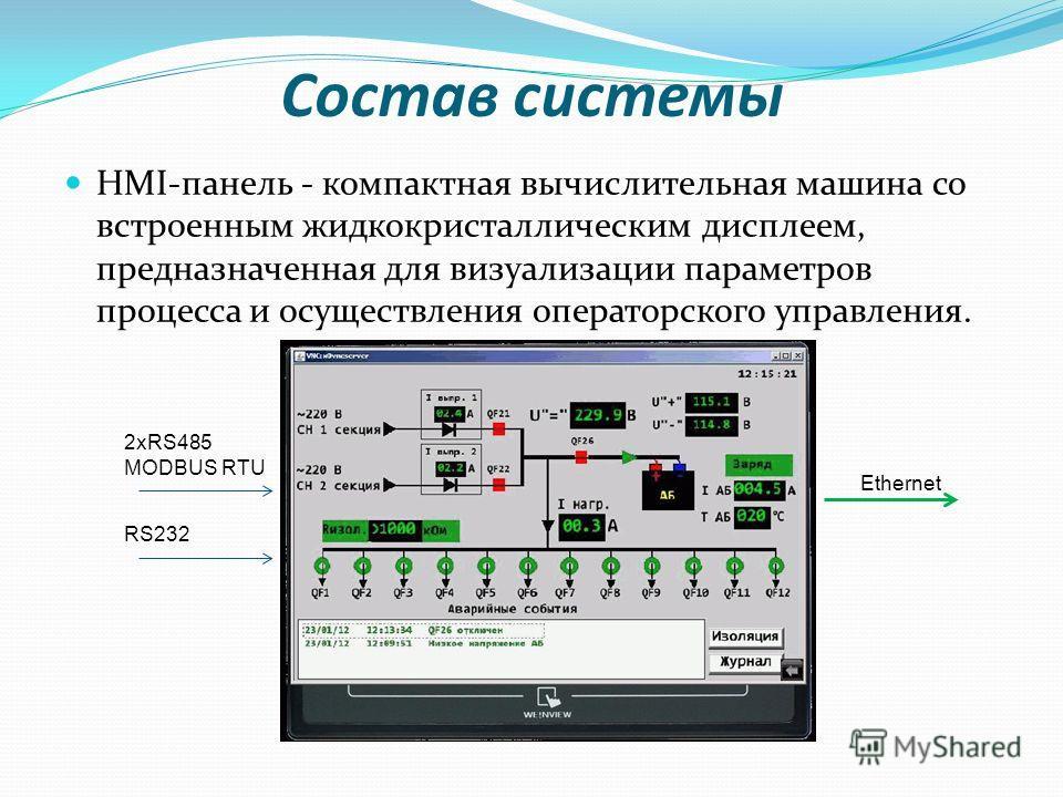 Состав системы HMI-панель - компактная вычислительная машина со встроенным жидкокристаллическим дисплеем, предназначенная для визуализации параметров процесса и осуществления операторского управления. 2xRS485 MODBUS RTU RS232 Ethernet