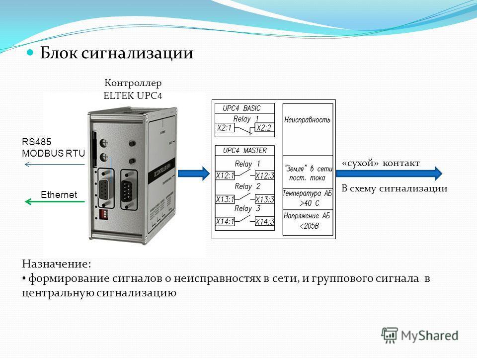 Блок сигнализации Контроллер ELTEK UPC 4 Назначение: формирование сигналов о неисправностях в сети, и группового сигнала в центральную сигнализацию «сухой» контакт В схему сигнализации RS485 MODBUS RTU Ethernet