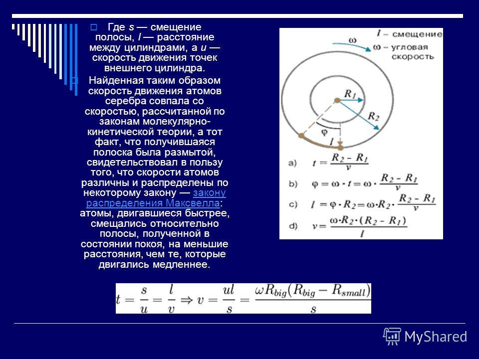 Где s смещение полосы, l расстояние между цилиндрами, а u скорость движения точек внешнего цилиндра. Найденная таким образом скорость движения атомов серебра совпала со скоростью, рассчитанной по законам молекулярно- кинетической теории, а тот факт,