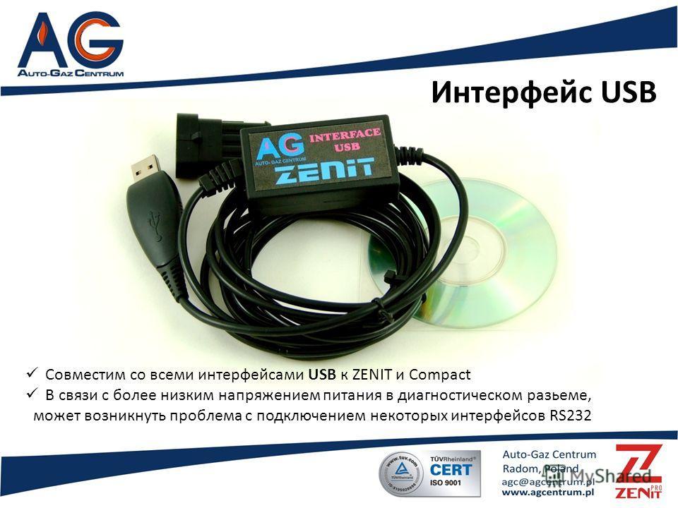 Интерфейс USB Совместим со всеми интерфейсами USB к ZENIT и Compact В связи с более низким напряжением питания в диагностическом разьеме, может возникнуть проблема с подключением некоторых интерфейсов RS232
