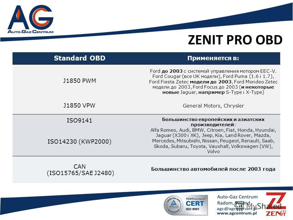 ZENIT PRO OBD Standard OBD Применяется в: J1850 PWM Ford до 2003 с системой управления мотором EEC-V. Ford Cougar (все UK модели), Ford Puma (1.6 i 1.7), Ford Fiesta Zetec модели до 2003, Ford Mondeo Zetec модели до 2003, Ford Focus до 2003 (и некото