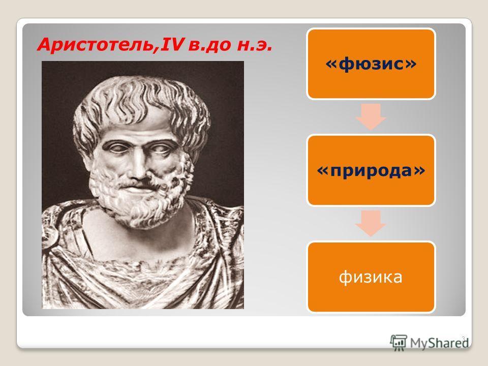 Аристотель,IV в.до н.э. «фюзис»«природа»физика 3