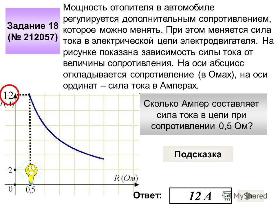 Сколько Ампер составляет сила тока в цепи при сопротивлении 0,5 Ом? Задание 18 ( 212057) Подсказка Мощность отопителя в автомобиле регулируется дополнительным сопротивлением, которое можно менять. При этом меняется сила тока в электрической цепи элек