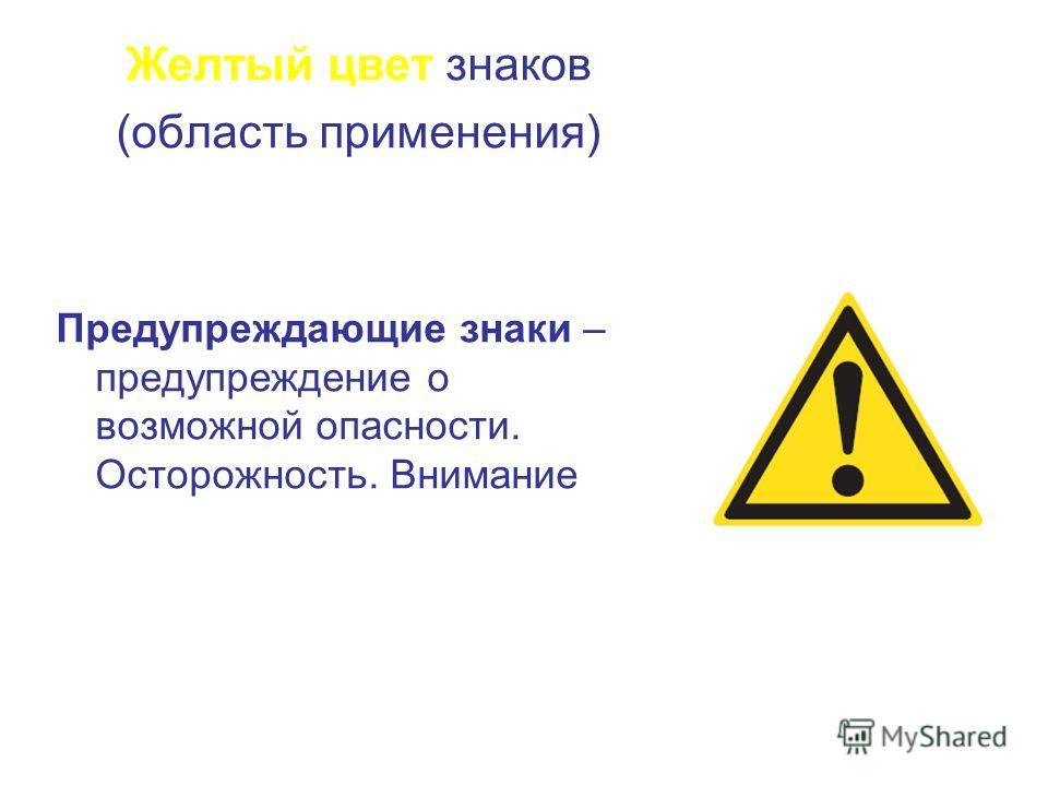Желтый цвет знаков (область применения) Предупреждающие знаки – предупреждение о возможной опасности. Осторожность. Внимание