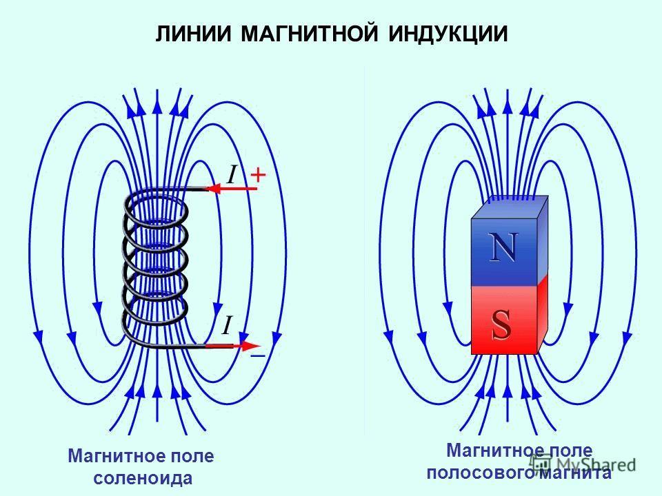 Магнитное поле соленоида Магнитное поле полосового магнита ЛИНИИ МАГНИТНОЙ ИНДУКЦИИ