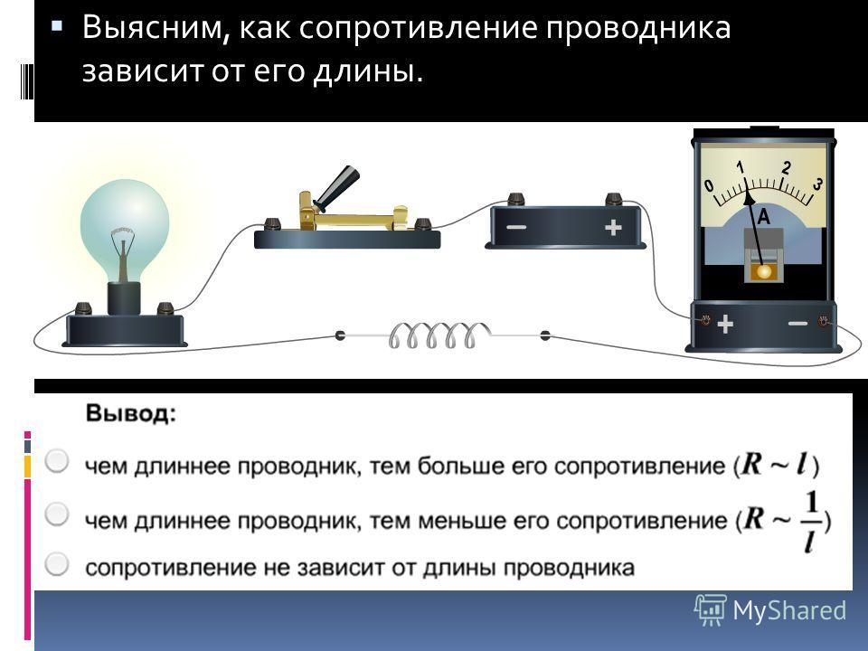 Выясним, как сопротивление проводника зависит от его длины.