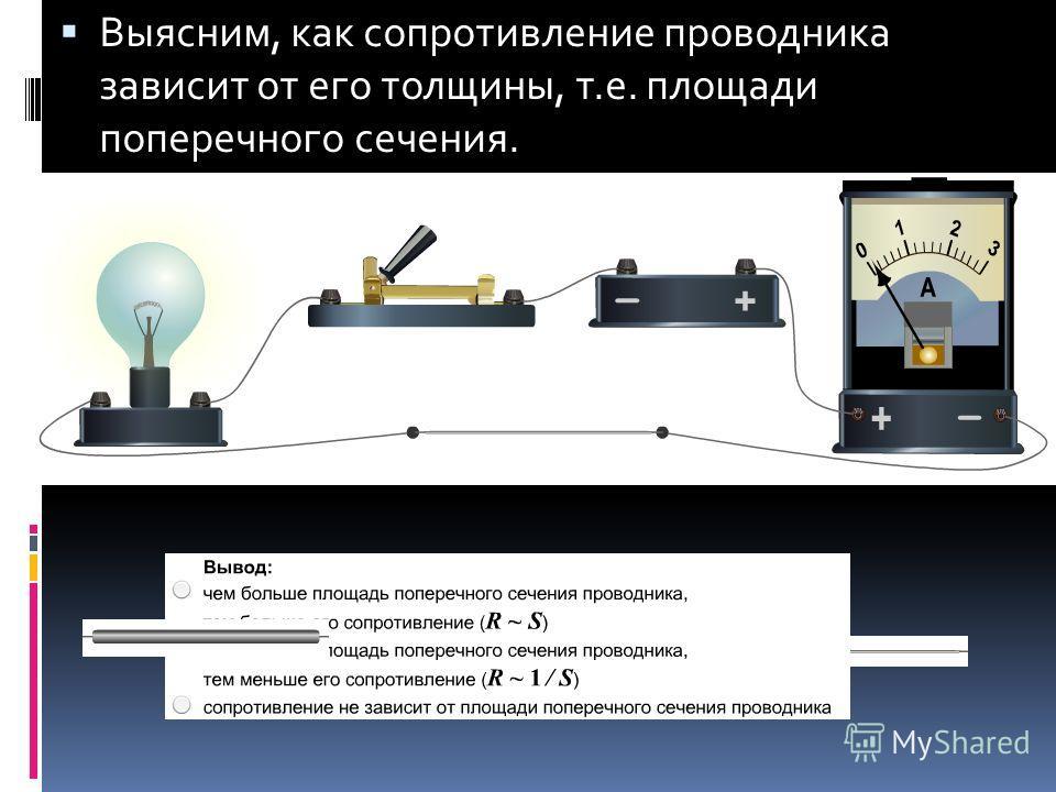 Выясним, как сопротивление проводника зависит от его толщины, т.е. площади поперечного сечения.