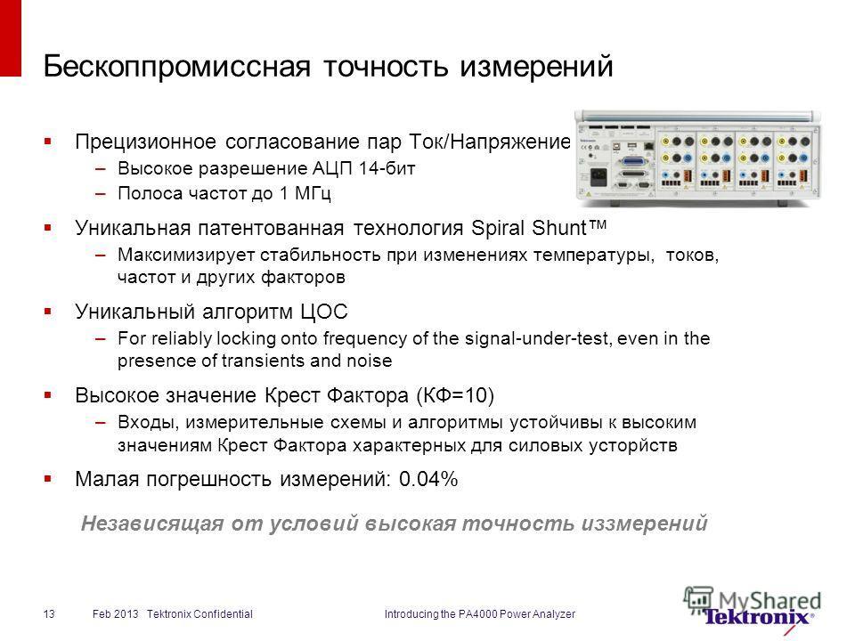 Бескоппромиссная точность измерений Прецизионное согласование пар Ток/Напряжениеairs –Высокое разрешение АЦП 14-бит –Полоса частот до 1 МГц Уникальная патентованная технология Spiral Shunt –Максимизирует стабильность при изменениях температуры, токов