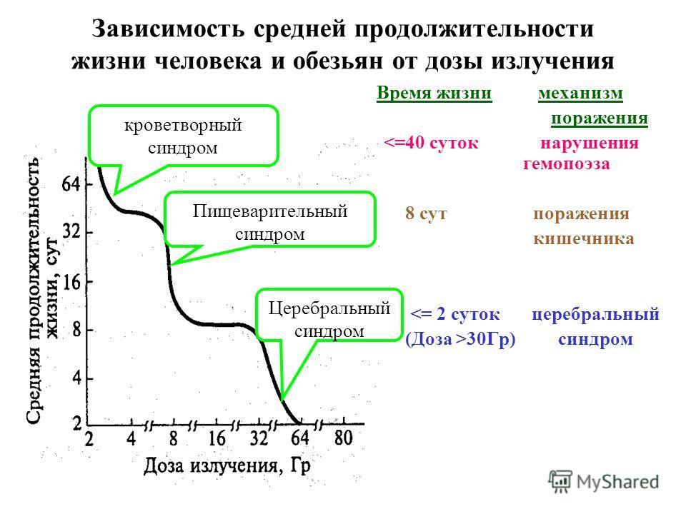 Зависимость средней продолжительности жизни человека и обезьян от дозы излучения Время жизни механизм поражения