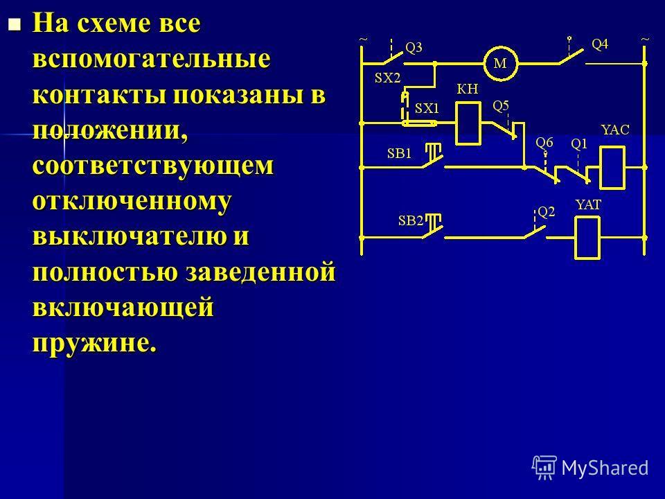 На схеме все вспомогательные контакты показаны в положении, соответствующем отключенному выключателю и полностью заведенной включающей пружине. На схеме все вспомогательные контакты показаны в положении, соответствующем отключенному выключателю и пол