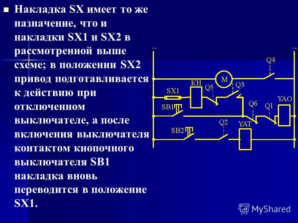 Накладка SX имеет то же назначение, что и накладки SX1 и SX2 в рассмотренной выше схеме; в положении SX2 привод подготавливается к действию при отключенном выключателе, а после включения выключателя контактом кнопочного выключателя SB1 накладка вновь