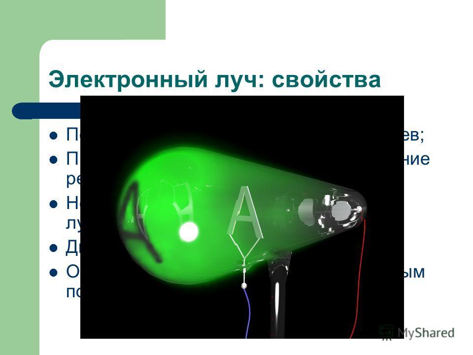 Электронный луч: свойства Попадая на вещество – вызывает нагрев; При торможении вызывает возникновение рентгеновских лучей; Некоторые вещества под действием лучей излучают свет; Движутся прямолинейно; Отклоняются электрическим и магнитным полями.