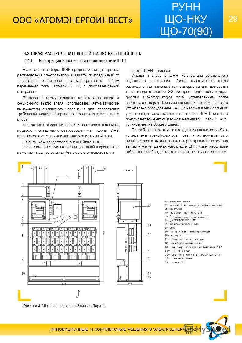 29 РУНН ЩО-НКУ ЩО-70(90) 4.2 ШКАФ РАСПРЕДЕЛИТЕЛЬНЫЙ НИЗКОВОЛЬТНЫЙ ШНН. 4.2.1Конструкция и технические характеристики ШНН Низковольтная сборка ШНН предназначена для приема, распределения электроэнергии и защиты присоединений от токов короткого замыкан