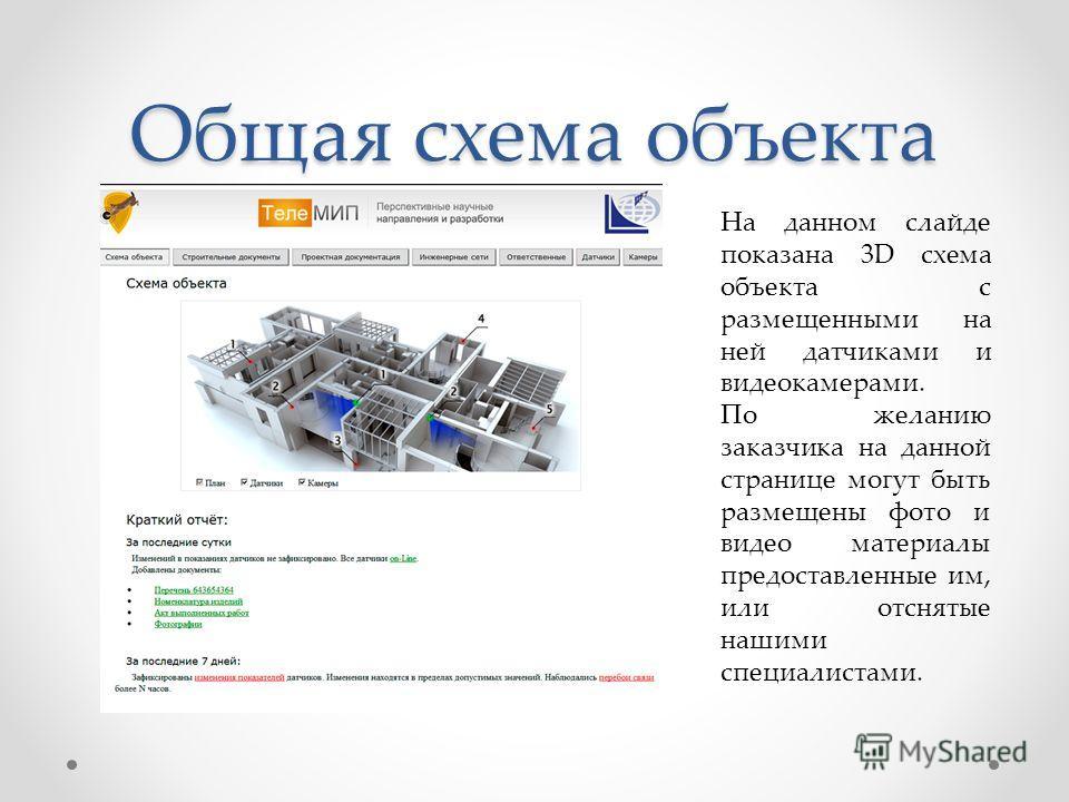 Общая схема объекта На данном слайде показана 3D схема объекта с размещенными на ней датчиками и видеокамерами. По желанию заказчика на данной странице могут быть размещены фото и видео материалы предоставленные им, или отснятые нашими специалистами.