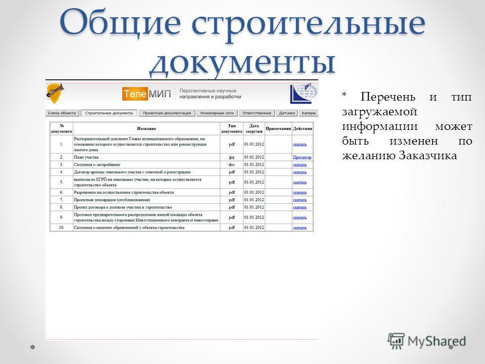 Общие строительные документы * Перечень и тип загружаемой информации может быть изменен по желанию Заказчика
