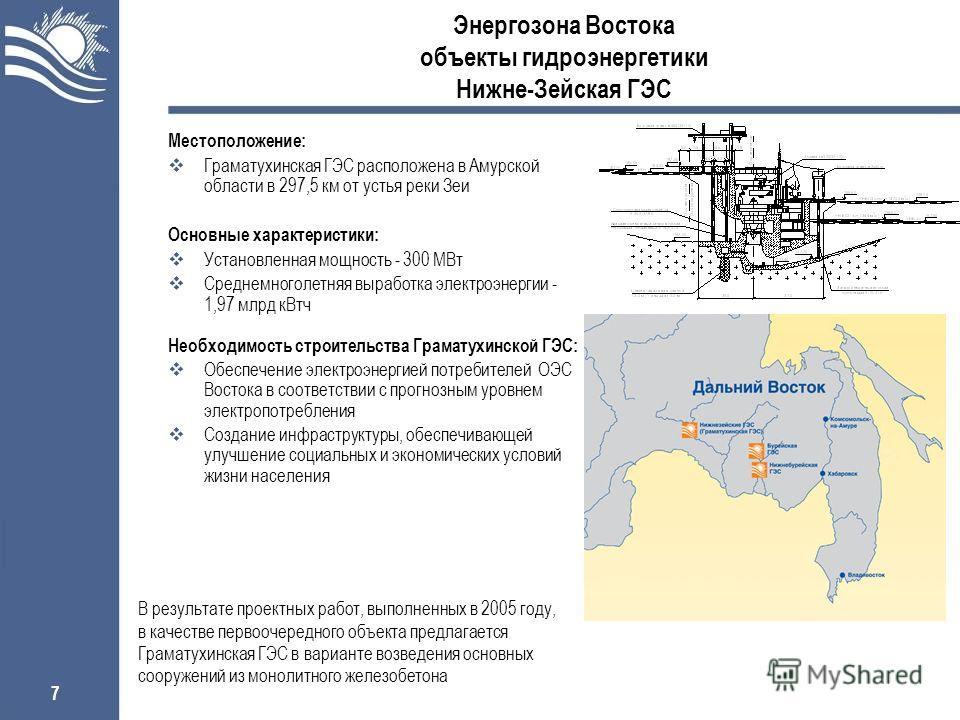 7 Энергозона Востока объекты гидроэнергетики Нижне-Зейская ГЭС Местоположение: Граматухинская ГЭС расположена в Амурской области в 297,5 км от устья реки Зеи Основные характеристики: Установленная мощность - 300 МВт Среднемноголетняя выработка электр