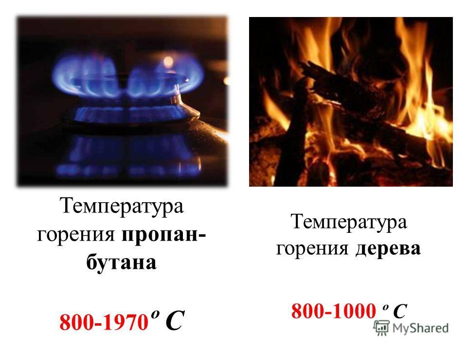 Температура горения пропан- бутана 800-1970 º С Температура горения дерева 800-1000 º С