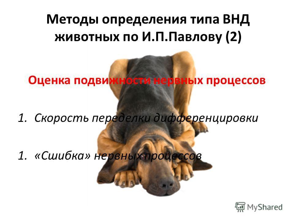 Методы определения типа ВНД животных по И.П.Павлову (2) Оценка подвижности нервных процессов 1.Скорость переделки дифференцировки 1.«Сшибка» нервных процессов