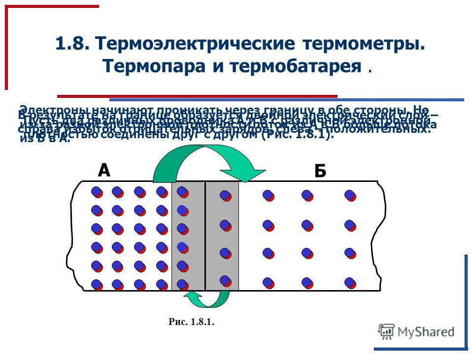 1.8. Термоэлектрические термометры. Термопара и термобатарея. Пусть два различных проводника А и Б с различной электронной плотностью соединены друг с другом (Рис. 1.8.1). Рис. 1.8.1. Электроны начинают проникать через границу в обе стороны. Но из-за