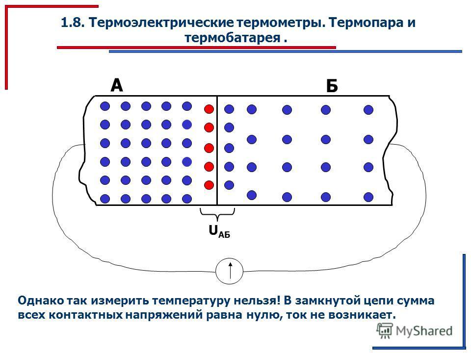 1.8. Термоэлектрические термометры. Термопара и термобатарея. А Б U АБ Однако так измерить температуру нельзя! В замкнутой цепи сумма всех контактных напряжений равна нулю, ток не возникает.