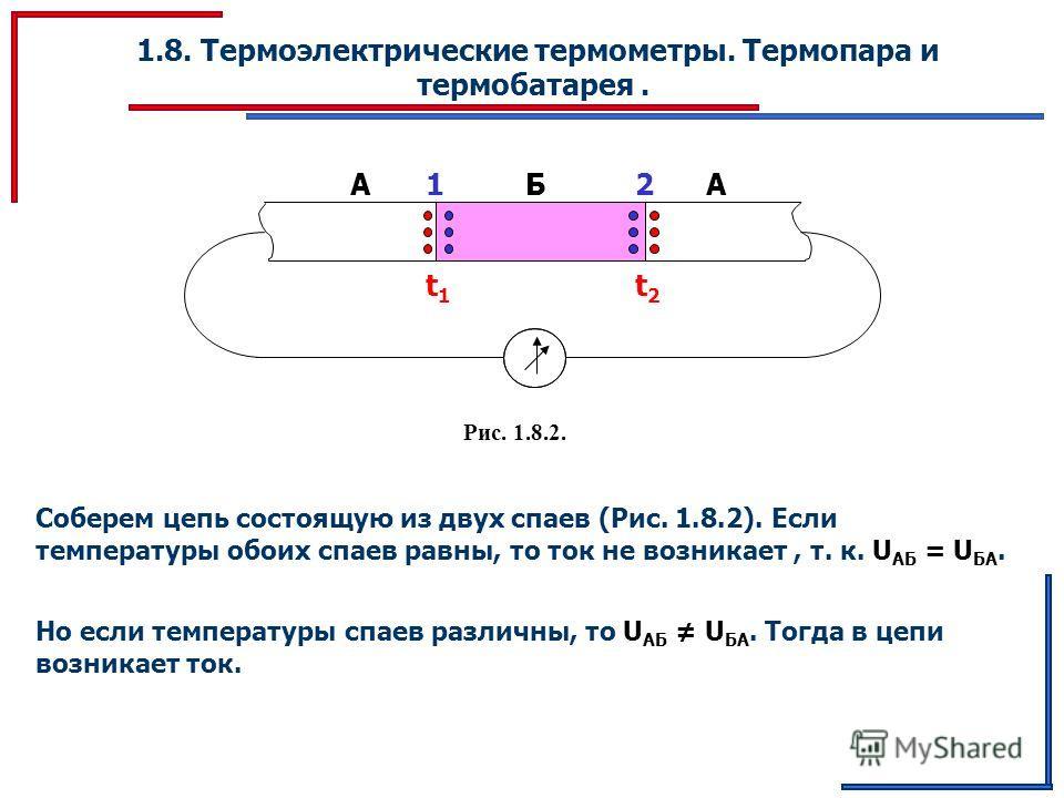 1.8. Термоэлектрические термометры. Термопара и термобатарея. ААБ12 t1t1 t2t2 Рис. 1.8.2. Соберем цепь состоящую из двух спаев (Рис. 1.8.2). Если температуры обоих спаев равны, то ток не возникает, т. к. U АБ = U БА. Но если температуры спаев различн