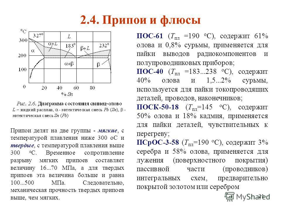 21 2.4. Припои и флюсы ПОС-61 (Т пл =190 о С), содержит 61% олова и 0,8% сурьмы, применяется для пайки выводов радиокомпонентов и полупроводниковых приборов; ПОС-40 (Т пл =183...238 о С), содержит 40% олова и 1,5...2% сурьмы, используется для пайки т