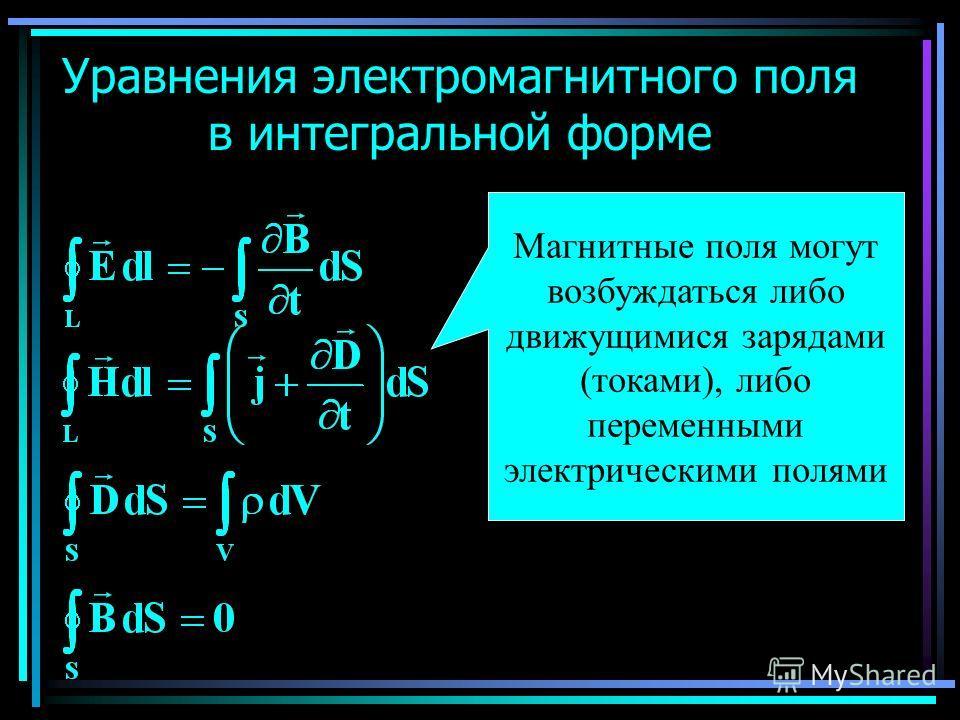 Уравнения электромагнитного поля в интегральной форме Магнитные поля могут возбуждаться либо движущимися зарядами (токами), либо переменными электрическими полями