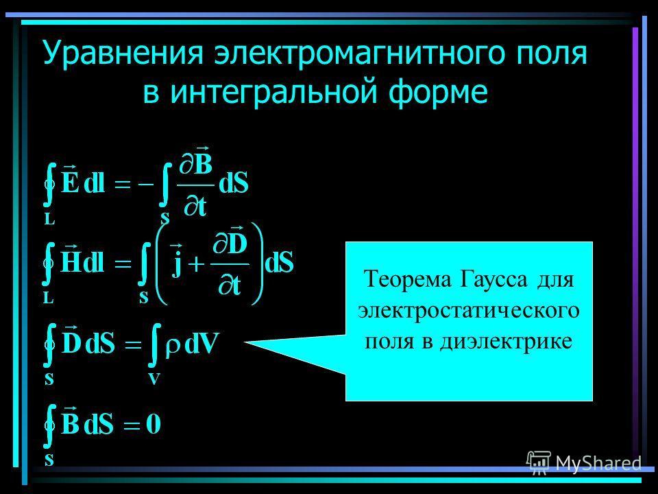 Уравнения электромагнитного поля в интегральной форме Теорема Гаусса для электростатического поля в диэлектрике