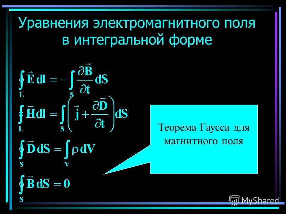 Уравнения электромагнитного поля в интегральной форме Теорема Гаусса для магнитного поля