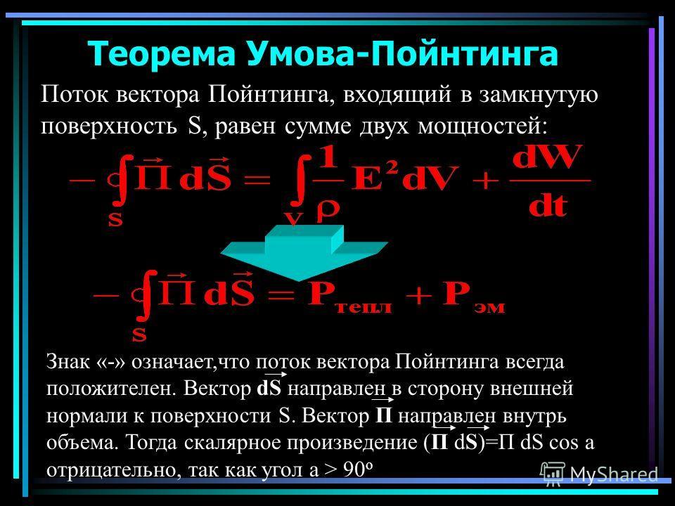 Теорема Умова-Пойнтинга Поток вектора Пойнтинга, входящий в замкнутую поверхность S, равен сумме двух мощностей: Знак «-» означает,что поток вектора Пойнтинга всегда положителен. Вектор dS направлен в сторону внешней нормали к поверхности S. Вектор П