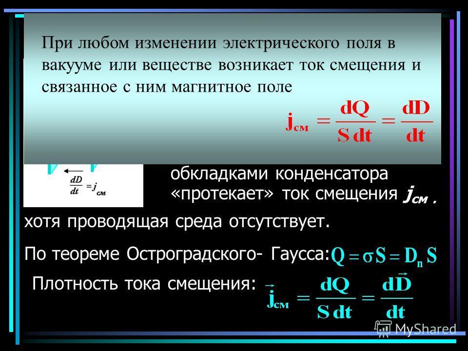 Ток электрического смещения в вакууме В вакууме изменяющееся во времени электрическое поле вызывает появление вихревого магнитного поля. Можно считать, что между обкладками конденсатора «протекает» ток смещения j см. хотя проводящая среда отсутствует