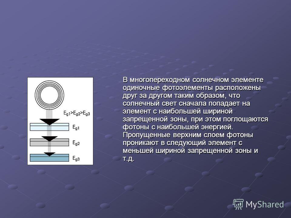 В многопереходном солнечном элементе одиночные фотоэлементы расположены друг за другом таким образом, что солнечный свет сначала попадает на элемент с наибольшей шириной запрещенной зоны, при этом поглощаются фотоны с наибольшей энергией. Пропущенные