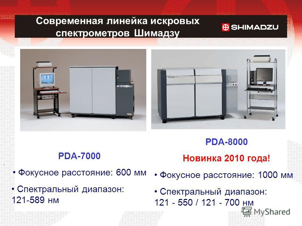 Современная линейка искровых спектрометров Шимадзу PDA-7000 Фокусное расстояние: 600 мм Спектральный диапазон: 121-589 нм PDA-8000 Новинка 2010 года! Фокусное расстояние: 1000 мм Спектральный диапазон: 121 - 550 / 121 - 700 нм