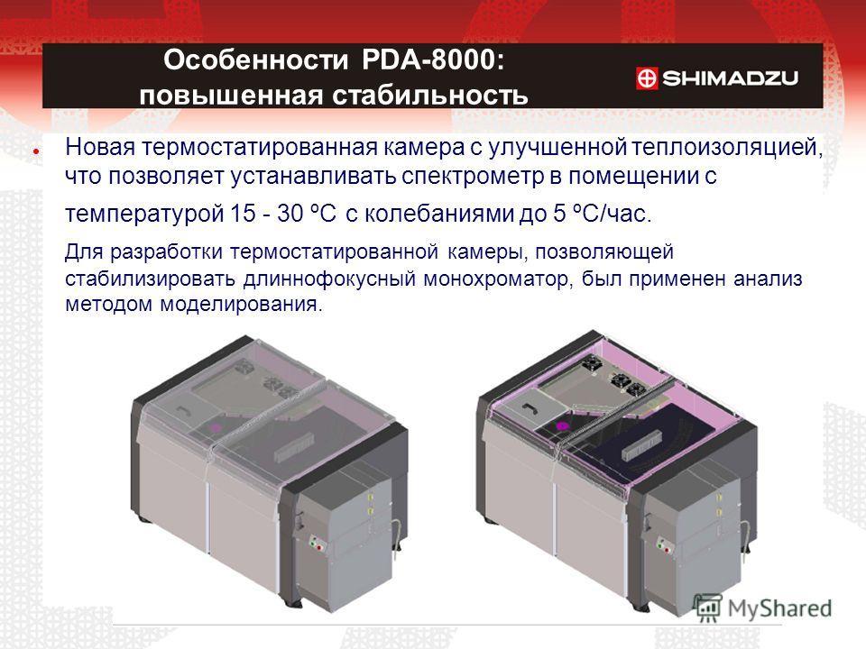 Новая термостатированная камера с улучшенной теплоизоляцией, что позволяет устанавливать спектрометр в помещении с температурой 15 - 30 ºС с колебаниями до 5 ºС/час. Для разработки термостатированной камеры, позволяющей стабилизировать длиннофокусный