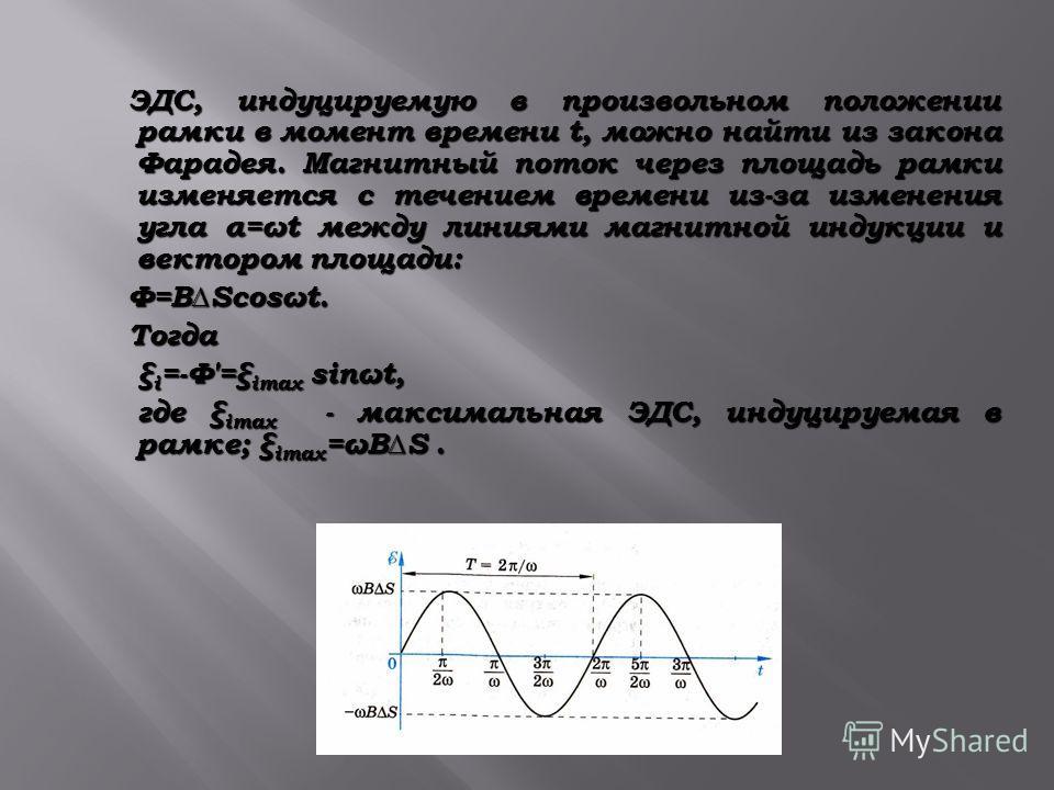 ЭДС, индуцируемую в произвольном положении рамки в момент времени t, можно найти из закона Фарадея. Магнитный поток через площадь рамки изменяется с течением времени из-за изменения угла α=ωt между линиями магнитной индукции и вектором площади: ЭДС,