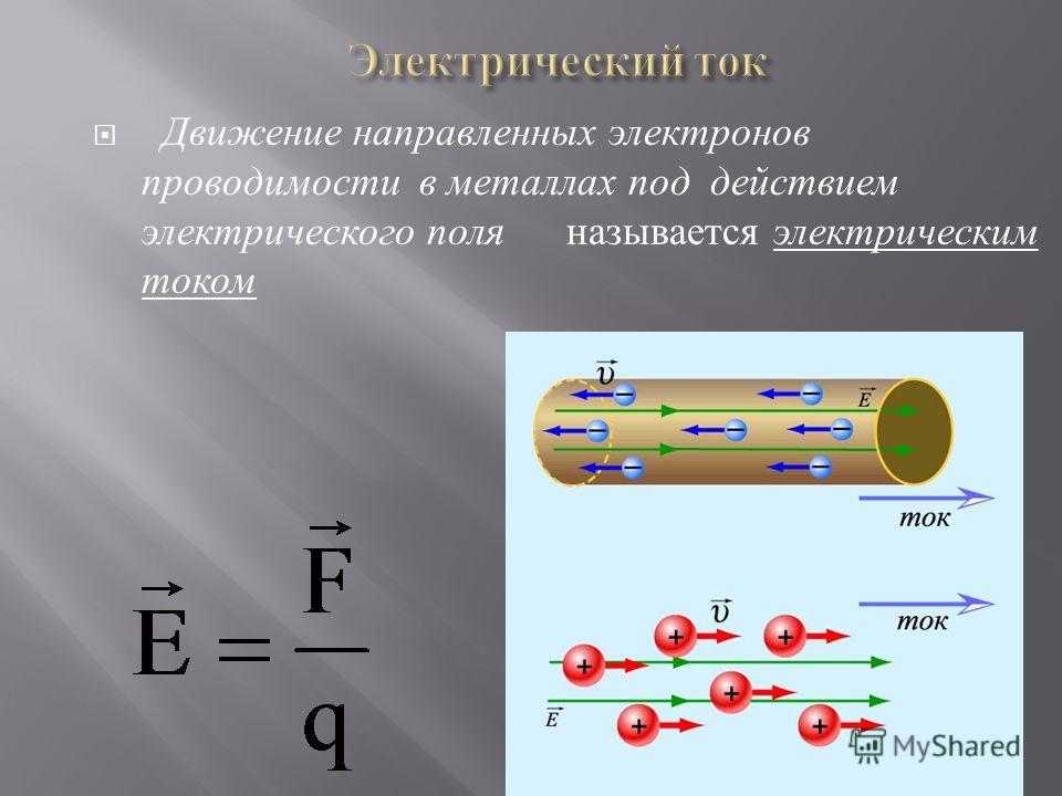 Движение направленных электронов проводимости в металлах под действием электрического поля называется электрическим током
