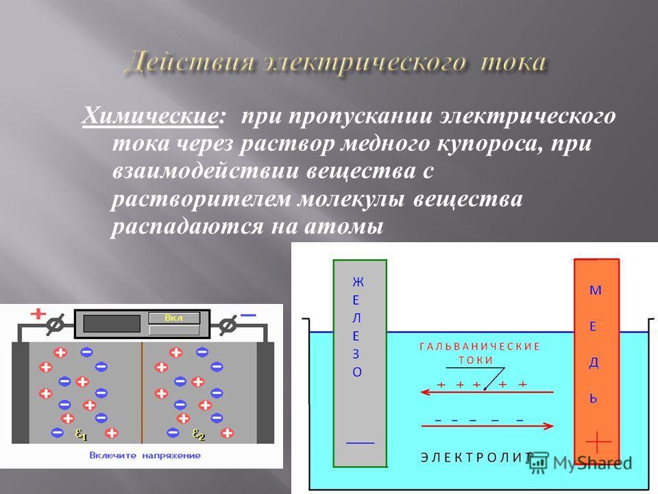 Химические: при пропускании электрического тока через раствор медного купороса, при взаимодействии вещества с растворителем молекулы вещества распадаются на атомы