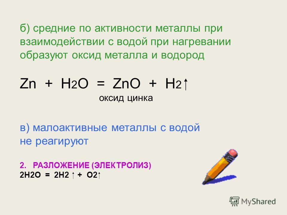 3. ХИМИЧЕСКИЕ СВОЙСТВА ВОДЫ. 1. С МЕТАЛЛАМИ. а) очень активные металлы при взаимодействии с водой образуют гидроксид и водород 2Na + 2H 2 O = 2NaOH + H 2 гидроксид натрия 2K + 2H 2 O = 2KOH + H 2 гидроксид калия Ca + 2H 2 O = Ca(OH) 2 + H 2 гидроксид