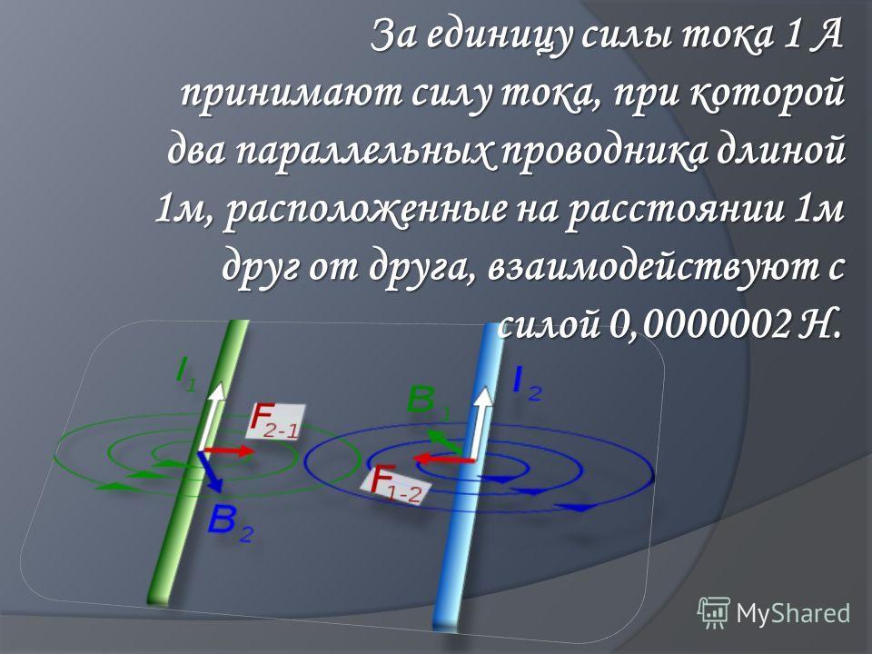 За единицу силы тока 1 А принимают силу тока, при которой два параллельных проводника длиной 1м, расположенные на расстоянии 1м друг от друга, взаимодействуют с силой 0,0000002 Н.
