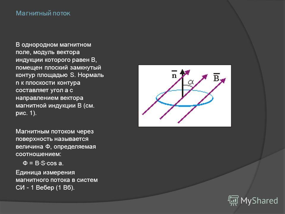 Магнитный поток В однородном магнитном поле, модуль вектора индукции которого равен В, помещен плоский замкнутый контур площадью S. Нормаль n к плоскости контура составляет угол a с направлением вектора магнитной индукции В (см. рис. 1). Магнитным по