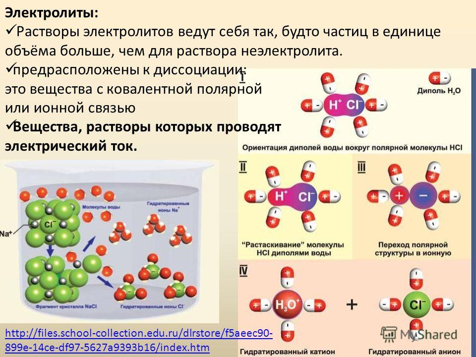 Электролиты: Растворы электролитов ведут себя так, будто частиц в единице объёма больше, чем для раствора неэлектролита. предрасположены к диссоциации: это вещества с ковалентной полярной или ионной связью Вещества, растворы которых проводят электрич
