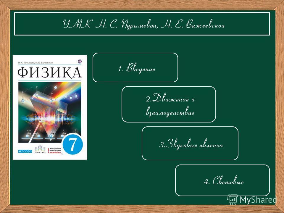 УМК Н. С. Пурышевой, Н. Е. Важеевской 3.Звуковые явления 4. Световые 1. Введение 2.Движение и взаимодействие
